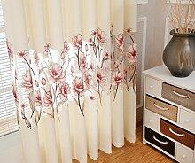 GWELL Transparent Blumen Vorhang Schal mit Ösen