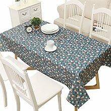 GWELL Wachstuch Tischdecke Abwaschbar Eckig Tischtuch Wasserdicht Schmutzabweisend Pflegeleicht Gartentischdecke Größe wählbar dunkelblau 140*220cm