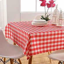 GWELL Wasserdicht Wachstuch Karo Tischdecke Eckig Abwaschbar Tischtuch Pflegeleicht Schmutzabweisend Farbe & Größe wählbar rot 145*145cm