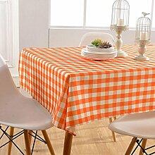 GWELL Wasserdicht Wachstuch Karo Tischdecke Eckig Abwaschbar Tischtuch Pflegeleicht Schmutzabweisend Farbe & Größe wählbar orange 140*200cm