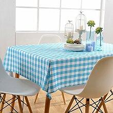 GWELL Wasserdicht Wachstuch Karo Tischdecke Eckig Abwaschbar Tischtuch Pflegeleicht Schmutzabweisend Farbe & Größe wählbar blau 145*145cm