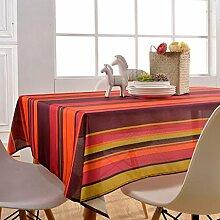 GWELL Wasserdicht Wachstuch Streifen Tischdecke Eckig Abwaschbar Tischtuch Pflegeleicht Schmutzabweisend Farbe & Größe wählbar rot 130*180cm
