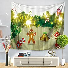 GWELL Weihnachten Wandteppich Wandbehang Tischdecke Strandtuch Tapestry Muster wählbar Muster-E 150*200cm