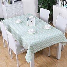 GWELL Welle Tischdecke Eckig Baumwolle Tischtuch Gartentischdecke Pflegeleicht Schmutzabweisend Tischwäsche mint 100*140cm