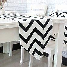 GWELL Welle Tischläufer Mitteldecke Tischband Tischdecke 30x180 cm schwarz