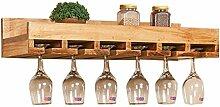 GWM Wand-Weinregal aus Holz mit Weinglashalter