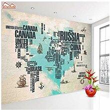 Gwrdnjpjc Retro Weltkarte Tapete Großes Wandbild