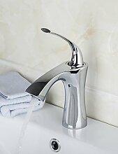 GXS Centerset Single Griff Messing verchromt Waschbecken Wasserhahn–Silber