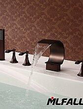 GXS mlfalls Artistic Messing Finish 5Löcher Deck montieren Öl eingerieben Bronze Wasserfall Waschbecken Badezimmer Hand Dusche Armaturen