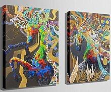"""GY&H 100% handgemaltes Holz gerahmt auf der rückseitigen Ölwand-Kunst Bunte Fantasiepferde Hauptdekoration-abstraktes Ölgemälde auf Segeltuch 3pcs / set,2pcs,15.7"""" *23.6"""