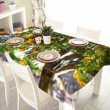 GY&H 3D Staubdicht Bedside Cabinet Tuch Küche Dinner Party, Sommer Outdoor Picknick Tischdecke (A2),F,134cm*183cm(53in*72in)
