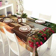 GY&H Aktiv Drucken und Färben 3D Umweltschutz Polyester Faser Mehrzweck Küche Esszimmer Tischdecken(A3),N, 228cm*396cm(90in*156in)