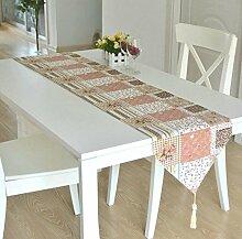 GY&H Bauernhaus Stil Baumwolle Druck Speisetisch Tisch Läufer Teetassen Multi-Muster,C,32*220cm