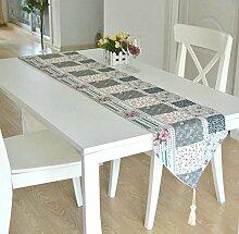 GY&H Bauernhaus Stil Baumwolle Druck Speisetisch Tisch Läufer Teetassen Multi-Muster,K,32*220cm