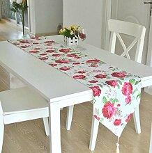 GY&H Bauernhaus Stil Baumwolle Druck Speisetisch Tisch Läufer Teetassen Multi-Muster,D,32*180cm