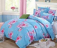GY&H Baumwoll-Köper-Schleifmittel-Aktivitätsdruck und Färben kühlen bequemen breathable Bett vier Sätze (Steppdecke Cover × 1PC, Bett-Blatt × 1PC, Kissenbezug × 2PCS),a7,1.8m(6ft) bed
