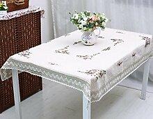 GY&H Baumwoll-Tischtuch hohle Spitze Couchtisch, TV-Schrank Tischgröße aller Arten von Tischdecken,white,120*150cm