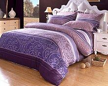 GY&H Baumwoll-Twill-Aktiv-Druck Luxus hochwertigen Heimtextilien Stoff vierteilige Quaste Rand Spitze Mode Bettwäsche (Quilt Cover × 1PC, Bettwäsche × 1PC, Kissenbezug × 2PCS),A2,1.5-1.8 m bed