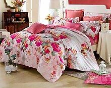 GY&H Baumwoll-Twill-Aktiv-Druck Luxus hochwertigen Heimtextilien Stoff vierteilige Quaste Rand Spitze Mode Bettwäsche (Quilt Cover × 1PC, Bettwäsche × 1PC, Kissenbezug × 2PCS),A1,1.5-1.8 m bed