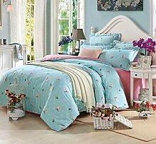 GY&H Baumwoll-Twill-Aktiv-Druck Luxus hochwertigen Heimtextilien Stoff vierteilige Quaste Rand Spitze Mode Bettwäsche (Quilt Cover × 1PC, Bettwäsche × 1PC, Kissenbezug × 2PCS),B7,1.5-1.8 m bed