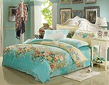 GY&H Baumwoll-Twill-Aktiv-Druck Luxus hochwertigen Heimtextilien Stoff vierteilige Quaste Rand Spitze Mode Bettwäsche (Quilt Cover × 1PC, Bettwäsche × 1PC, Kissenbezug × 2PCS),B6,1.5-1.8 m bed