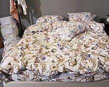GY&H Baumwolle feines Seidengrind gestepptes Köper niedriges hypoallergenes bequemes breathable kühles Bett vier Sätze (Steppdecke Cover × 1PC, Bett-Blatt × 1PC, Kissenbezug × 2PCS),a6,2.0m(6.6ft) bed