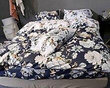 GY&H Baumwolle feines Seidengrind gestepptes Köper niedriges hypoallergenes bequemes breathable kühles Bett vier Sätze (Steppdecke Cover × 1PC, Bett-Blatt × 1PC, Kissenbezug × 2PCS),a3,1.5m(5ft) bed