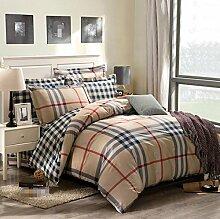 GY&H Baumwolle gestreiftes Gitter vier Sätze von Baumwolle Aktiv Köper Bett vier Sätze von Bettwäsche (Königin, König),D,Queen