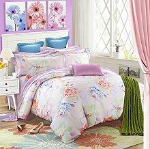 GY&H Baumwolle gestreiftes Gitter vier Sätze von Baumwolle Aktiv Köper Bett vier Sätze von Bettwäsche (Königin, König),H,Queen