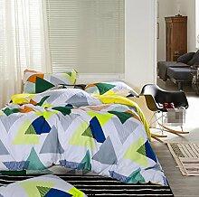 GY&H Baumwolle gestreiftes Gitter vier Sätze von Baumwolle Aktiv Köper Bett vier Sätze von Bettwäsche (Königin, König),R,Queen