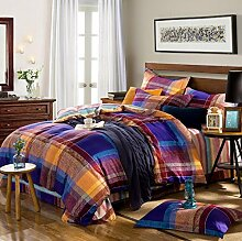 GY&H Baumwolle gestreiftes Gitter vier Sätze von Baumwolle Aktiv Köper Bett vier Sätze von Bettwäsche (Königin, König),G,King