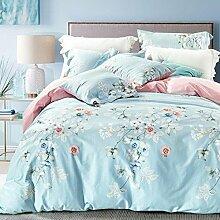 GY&H Baumwolle pastorale Baumwoll-Twill frische atmungsaktive Bett vier Sätze von Bettwäsche (Queen, King),A,King