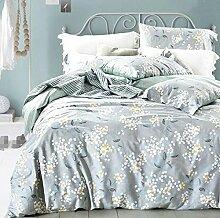 GY&H Baumwolle pastorale Baumwoll-Twill frische atmungsaktive Bett vier Sätze von Bettwäsche (Queen, King),D,King