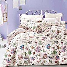 GY&H Baumwolle pastorale Baumwoll-Twill frische atmungsaktive Bett vier Sätze von Bettwäsche (Queen, King),S,Queen