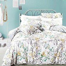 GY&H Baumwolle pastorale Baumwoll-Twill frische atmungsaktive Bett vier Sätze von Bettwäsche (Queen, King),P,King