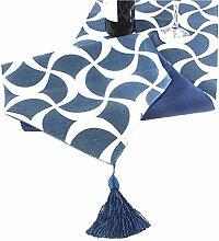 GY&H Baumwolle und Hanf Tischläufer geometrische Muster Hochzeitsfeier Desktop-Dekorationen, Thanksgiving, Weihnachten Läufer,blue,32*200cm