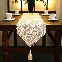 GY&H Baumwolle und Leinen Baum Blatt, Baum Wurzel Tisch Läufer Hochzeitsfeier, Thanksgiving, Weihnachtsschmuck elegante Stoff Geschenke Jiapin,A,33*200cm
