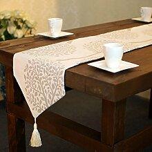 GY&H Baumwolle und Leinen Baum Blatt, Baum Wurzel Tisch Läufer Hochzeitsfeier, Thanksgiving, Weihnachtsschmuck elegante Stoff Geschenke Jiapin,B,33*200cm