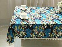 GY&H Baumwolle und Leinen nationalen Wind Druck Retro Tischdecke Tischdecke universelle Multi - Use Tischdecken,blue, 90*90cm