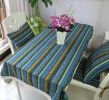 GY&H Baumwolle und Leinen Tischdecke Couchtisch Tuch Nachttisch Schrank Schrank Hausdekoration Tischdecke rechteckige Tischdecke,blue,70*70cm