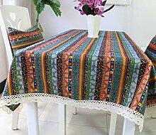 GY&H Baumwolle und Leinen Tischdecke Couchtisch Tuch Nachttisch Schrank Schrank Hausdekoration Tischdecke rechteckige Tischdecke,green,140*140cm