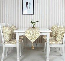 GY&H Blätter gedruckt Tischläufer Couchtisch Tuch Tisch Mode Hause Tisch Läufer mit Quaste drei Farbe optional Maschinenwäsche,yellow,32*220cm