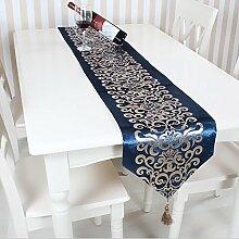 GY&H Bronzen Retro Komfort Tischläufer geometrisches Muster Couchtisch Restaurant Tuch Tisch Flagge Bett Läufer,blue,32*180cm