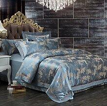 GY&H Cotton Active Färben Jacquard Klapptaschen Hautpflege Komfort Bett Vier Stück Bettwäsche (Königin, König),E,King