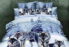 GY&H Die neue Heimtextilien Malerei Twill aktive Druck Schnee Wolf Baumwolle 3D Bettwäsche vier Sets,D,200X230