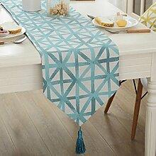 GY&H Einfache moderne Polyester-Faser gelb Tischläufer TV-Schrank Bar Tisch Couchtisch Läufer dekorative Bett Flagge,Light blue,32*160cm