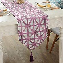 GY&H Einfache moderne Polyester-Faser gelb Tischläufer TV-Schrank Bar Tisch Couchtisch Läufer dekorative Bett Flagge,purple,32*220cm