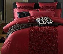 GY&H Europäische Baumwollsatin gewaschenes silk Qualitätshauptgewebegewebe vier Sätze bequeme weiche Bettwäsche Steppdeckeabdeckung × 1PC, Bett-Blatt × 1PC, Kissenbezug × 2PCS),H,2 meters bed