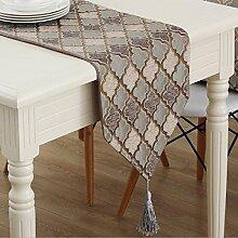 GY&H Europäische Esstisch Startseite Tischläufer Dekorative Couchtisch, TV Schrank Abdeckung Schlafzimmer Bett Läufer,Coffee ,32*200cm
