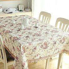 GY&H Europäische High-End-Luxus-Tischdecke Spitze rechteckigen Wohnzimmer Hause Couchtisch TV-Schrank Abdeckung Tuch,D,140*140CM